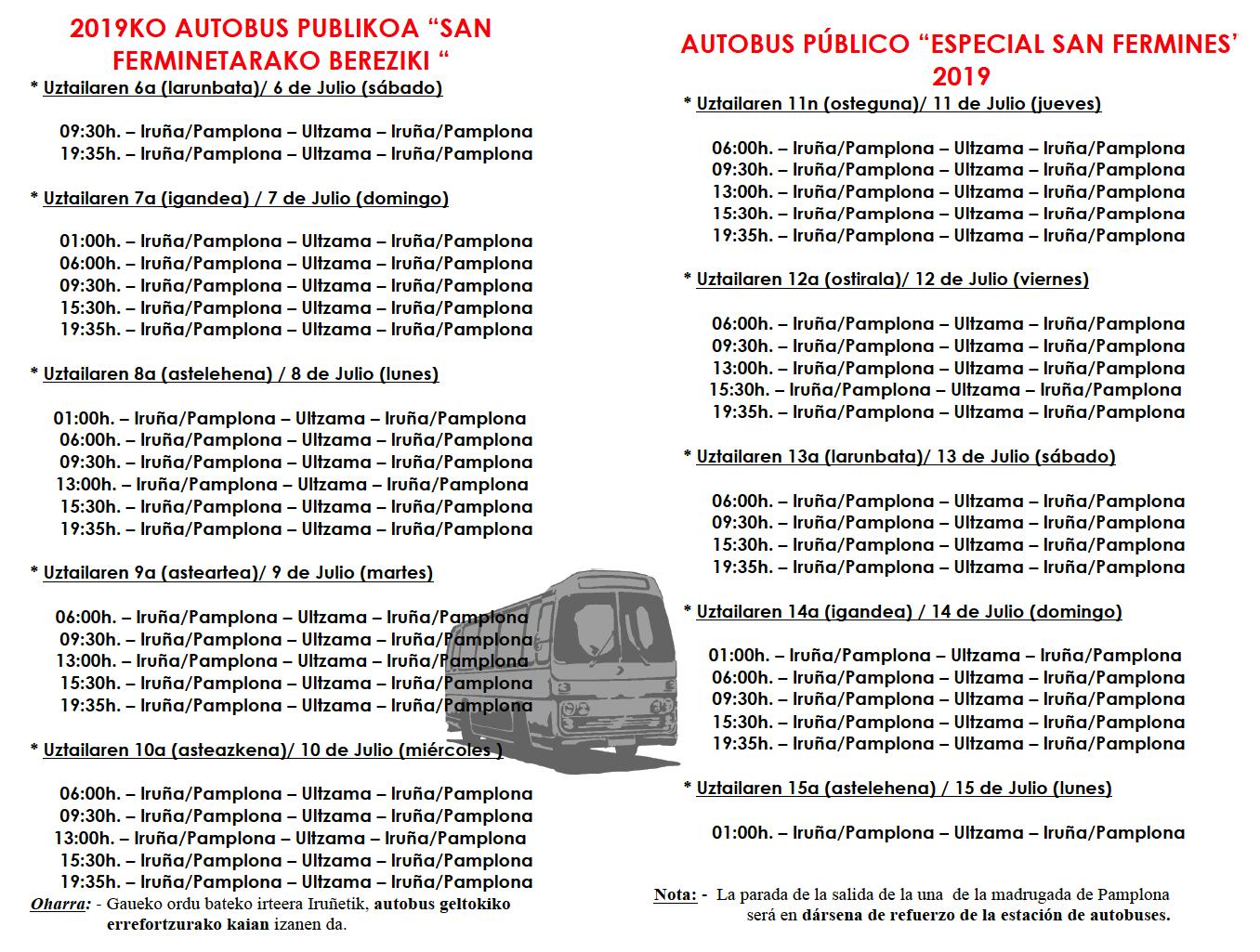 Autobuses para San Fermín 2019 ULTZAMA